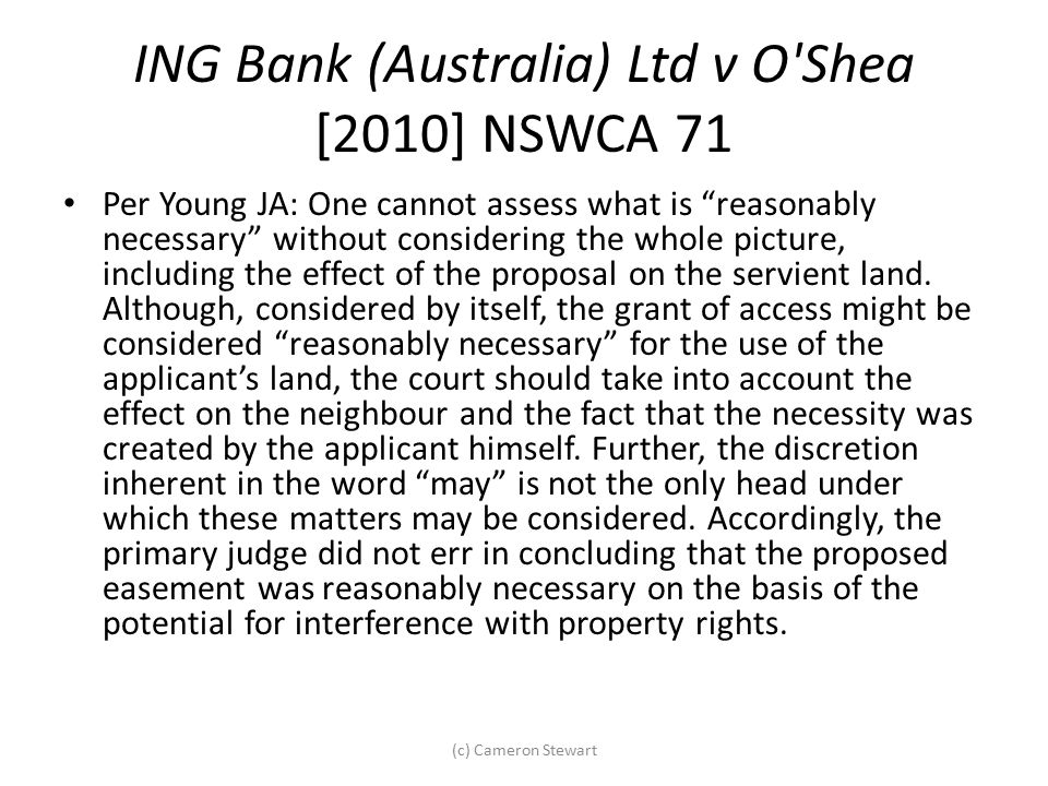 ING Bank (Australia) Ltd v O Shea [2010] NSWCA 71